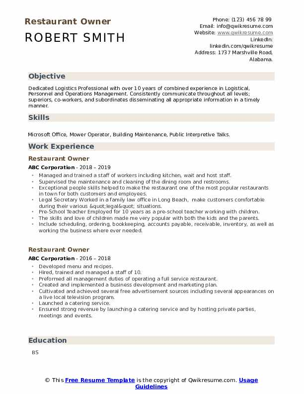 restaurant owner resume samples qwikresume for job pdf carpenter duties and Resume Resume For Restaurant Job