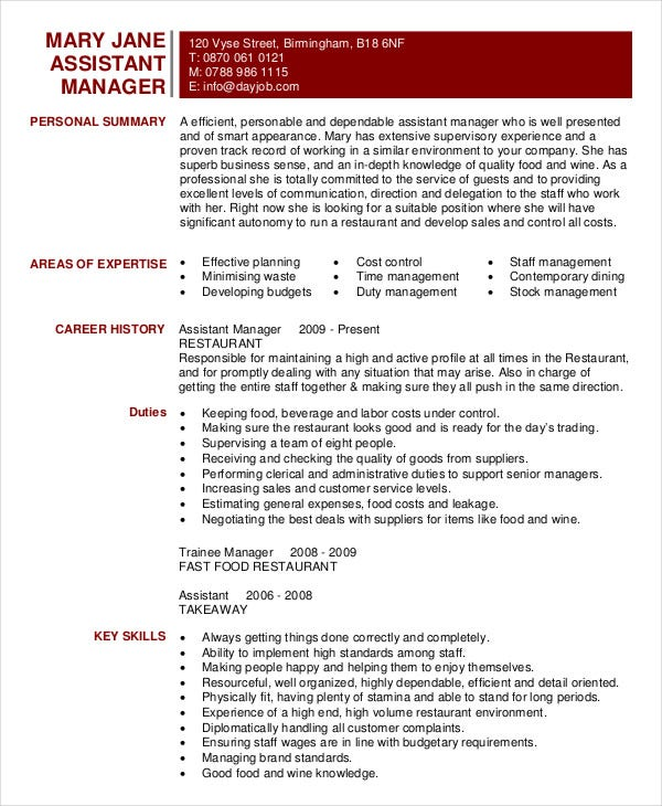 restaurant resume free word pdf documents premium templates assistant manager template Resume Restaurant Assistant Manager Resume