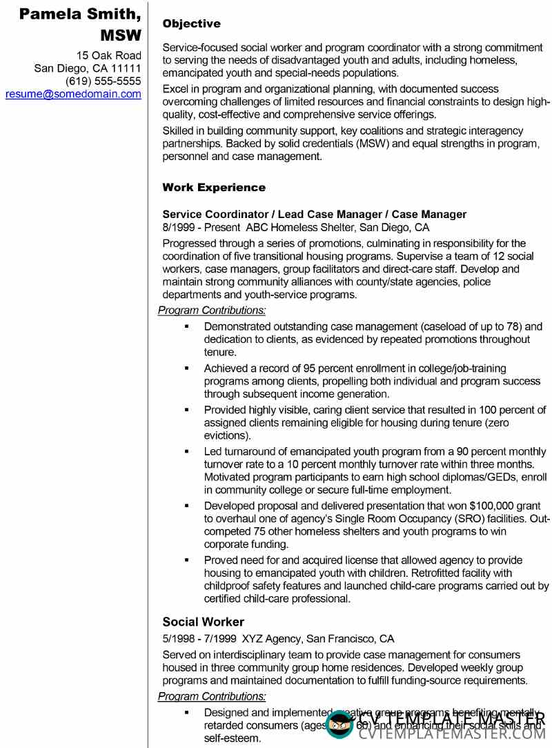 résumé example for social worker or similar role cv template master resume objective Resume Social Worker Resume Objective