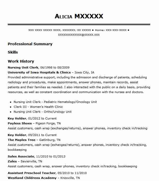 resume examples hospital unit clerk health example fast food worker writing specialists Resume Unit Clerk Resume Example