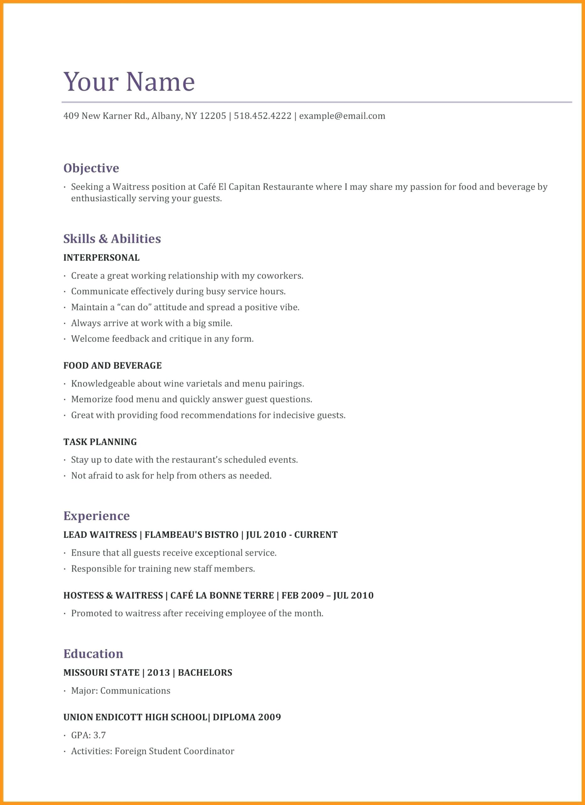 resume examples website is for resources and information good server skills objective Resume Server Resume Objective