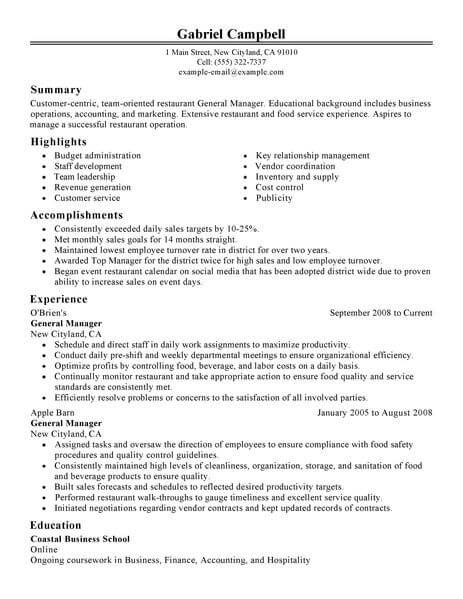 resume examples website is for resources and information restaurant management manager Resume General Manager Resume Sample
