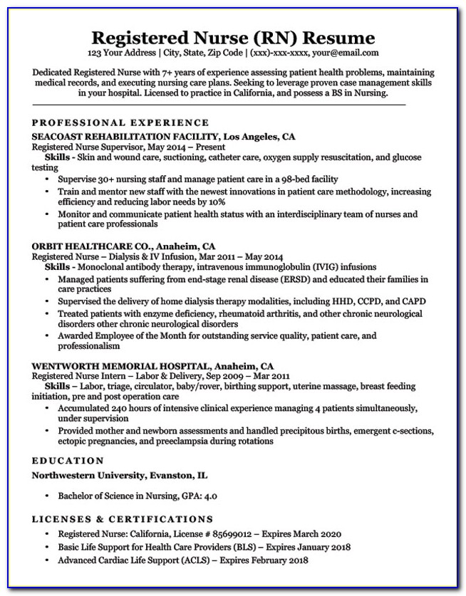 resume for registered nurse with year experience vincegray2014 marketing consultant the Resume 1 Year Experience Nurse Resume