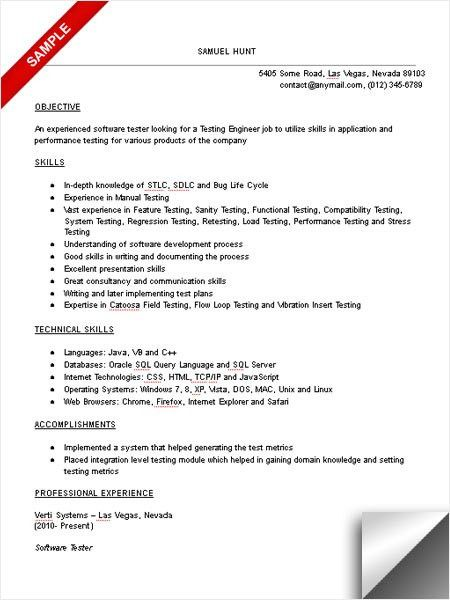 resume for software tester cv example best format testing engineer assistant project Resume Resume Format For Testing Engineer