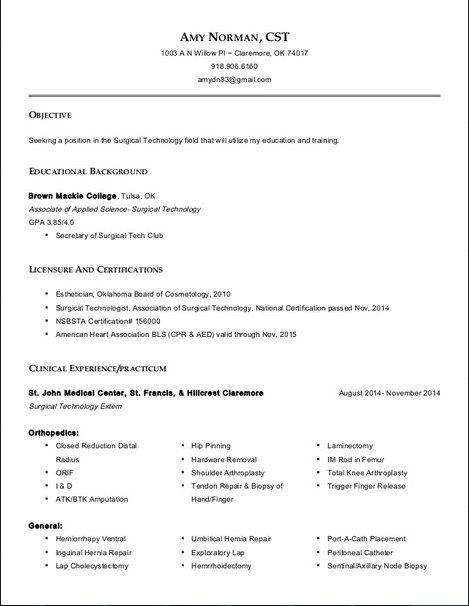 resume for surgical technologist all about templates tech examples student emc storage Resume Resume For Surgical Technologist Student
