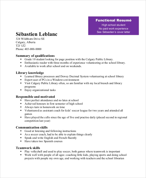 resume for teenager with little work experience order of education on food server year Resume Summary On Resume For High School Student