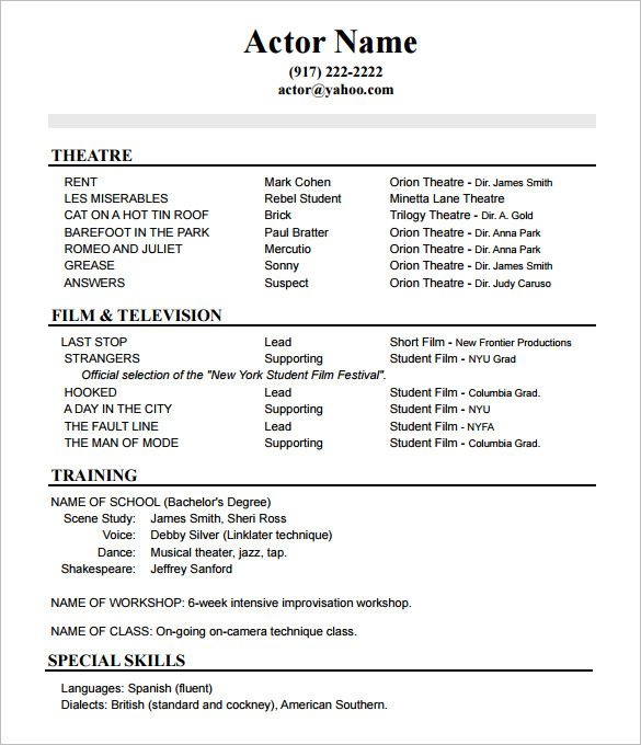 resume format actor acting template sample templates model examples for data analyst Resume Actor Model Resume Template