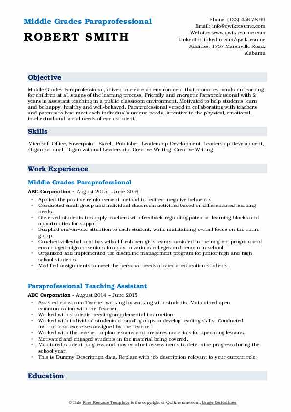 resume format for cts company special education paraprofessional coach description rn Resume Resume Coach Phone Number