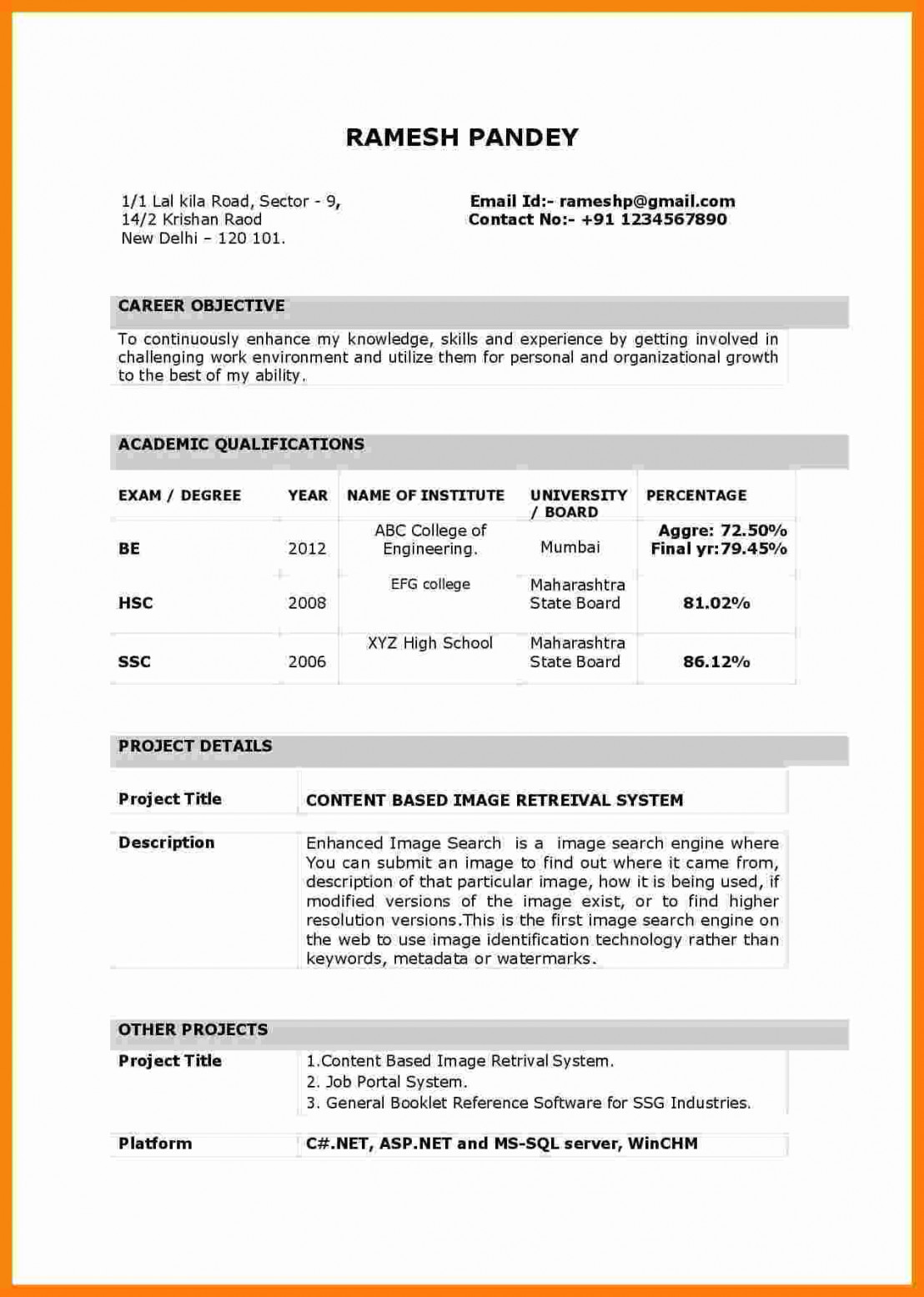 resume format for freshers template builder example examples cv sample fresher Resume Resume Examples For Freshers