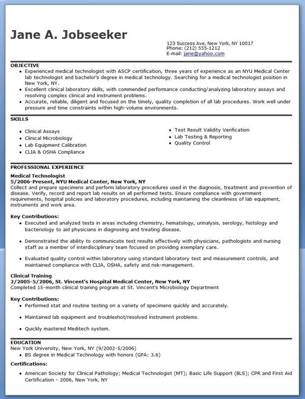resume format for medical technologist fresh graduate examples of cover letters generic Resume Medical Technologist Resume Fresh Graduate