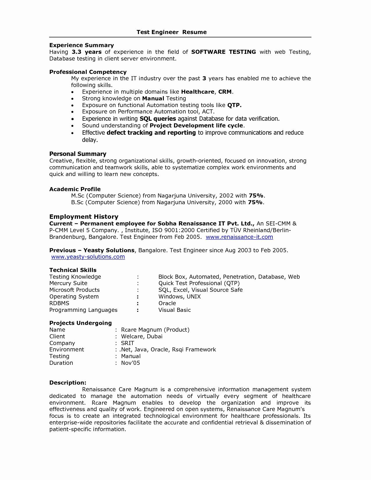 resume format for years experience in testing best software sample engineer project Resume Resume Format For Testing Engineer