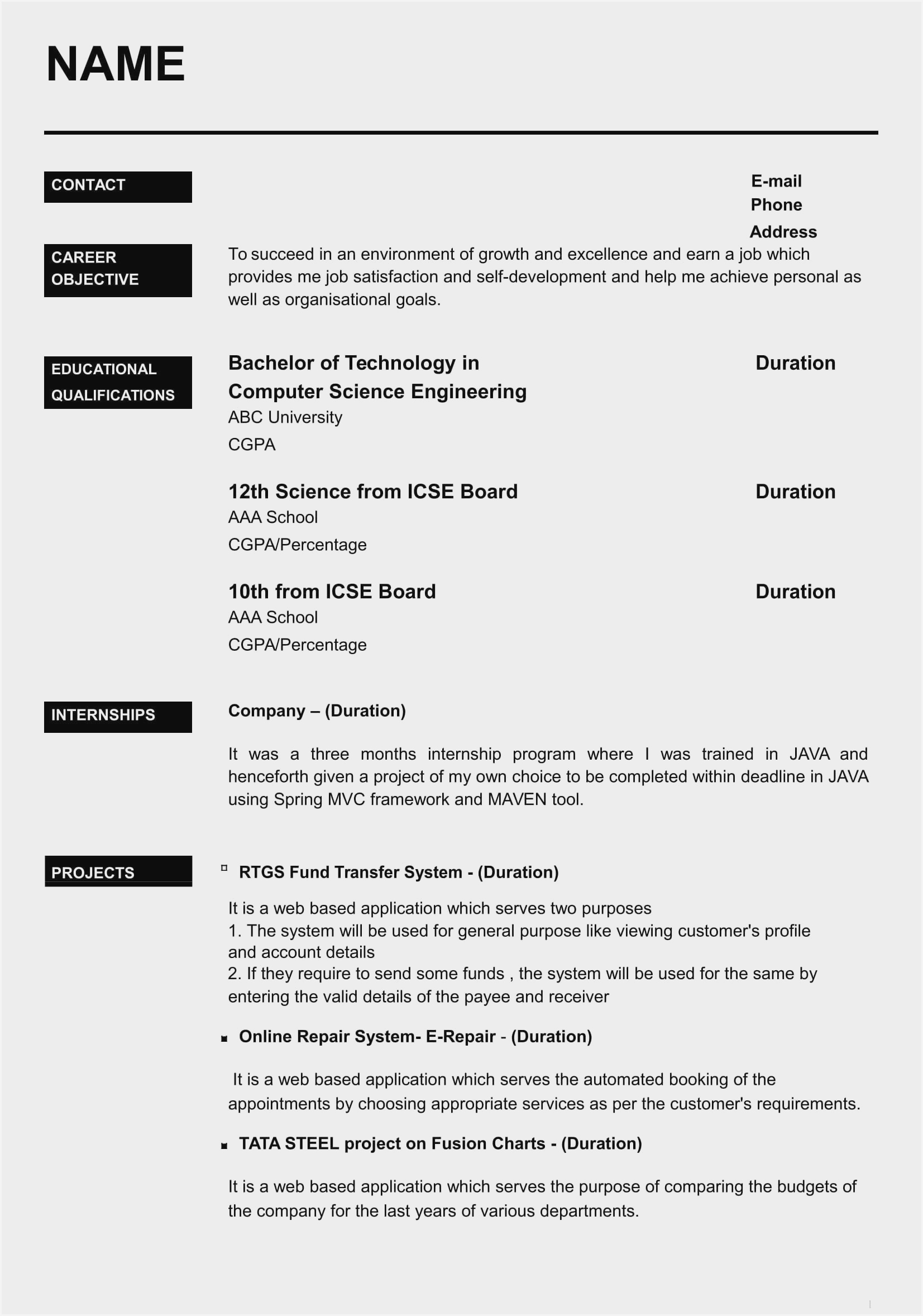 resume format free sample for freshers pdf implement synonym sorority social template Resume Resume Format For Freshers Pdf