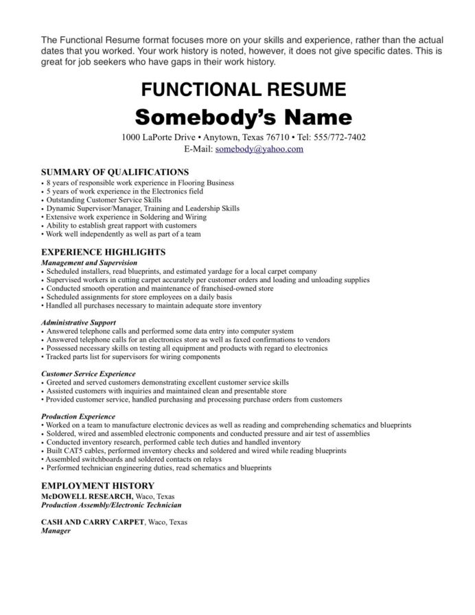 resume format one job templates template with history security guard description for Resume Resume With One Job History