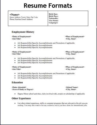 resume format types examples free different of resumes linkedin icon for analyst summary Resume Different Types Of Resumes