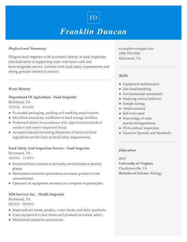 resume formats guide my perfect combination sample food inspector registered pharmacy Resume Combination Resume Sample