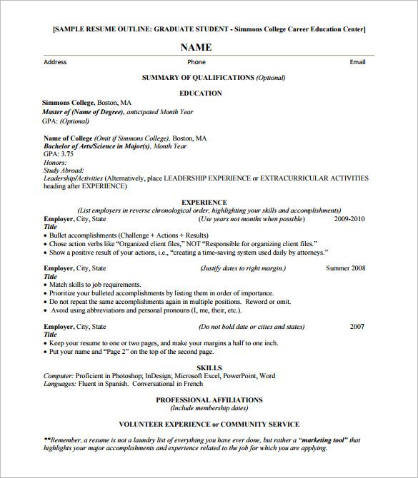 resume outline template free word excel pdf format examples example college application Resume Resume Outline Template