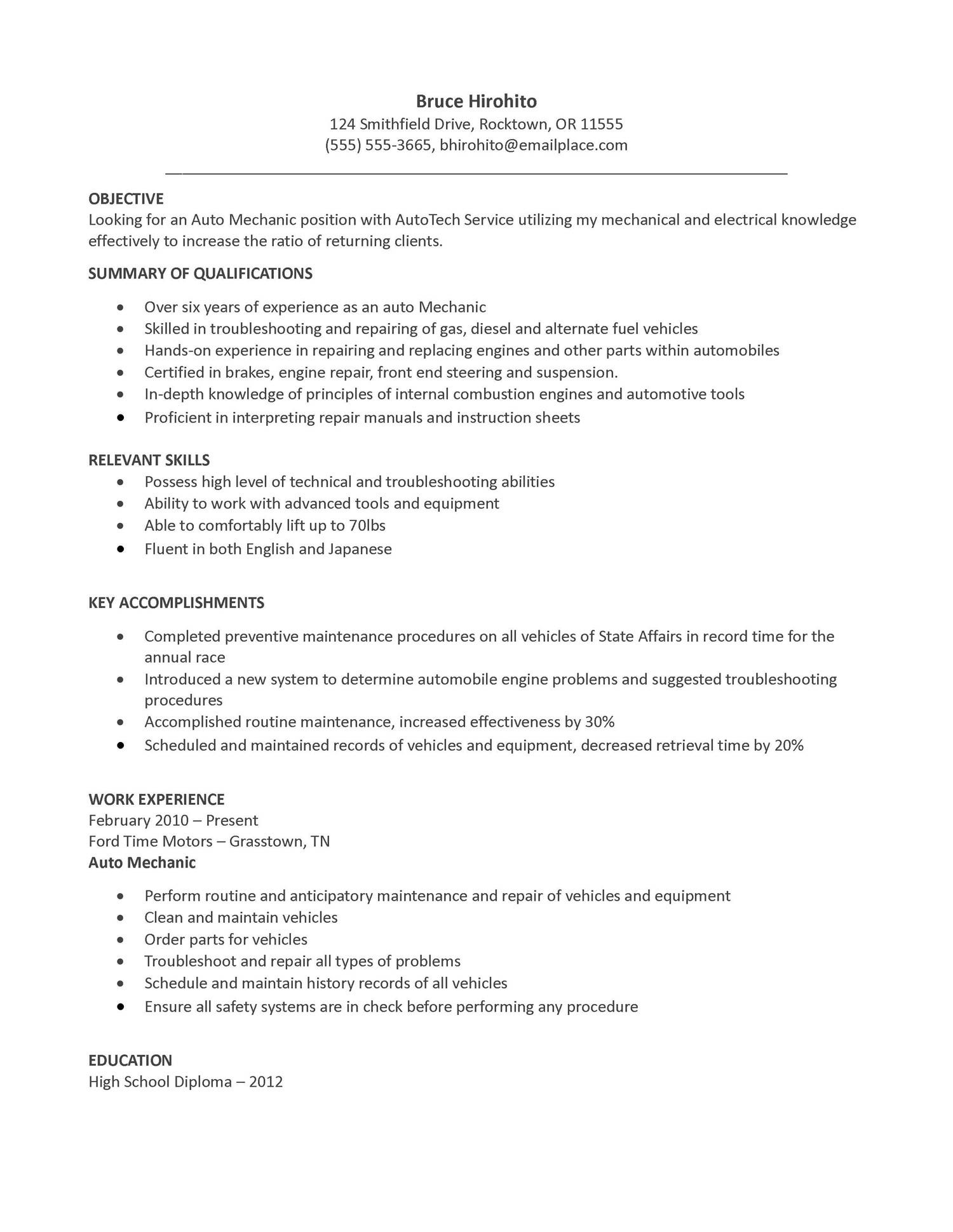 resume sample auto mechanic objective examples for technician summary warehouse worker Resume Resume For Auto Mechanic Technician