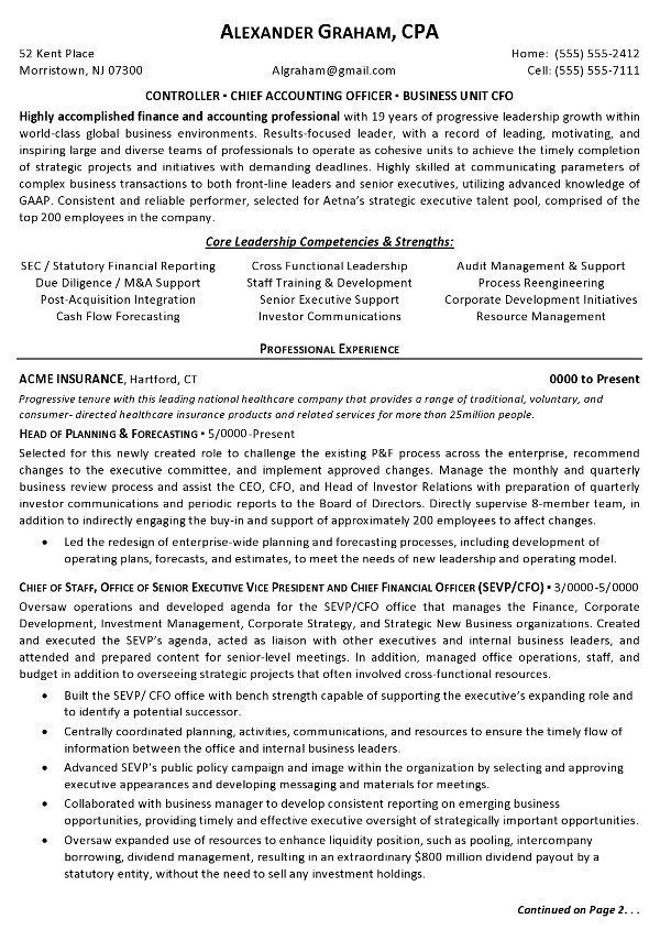 resume sample controller chief accounting officer business unit cfo career resumes Resume Controller Resume Samples