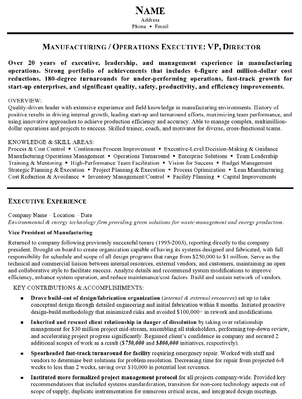 resume sample manufacturing and operations executive career resumes facility pg1 customer Resume Facility Executive Resume