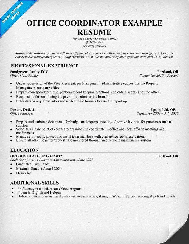 resume samples and to write companion job examples objective office coordinator Resume Office Coordinator Job Description Resume