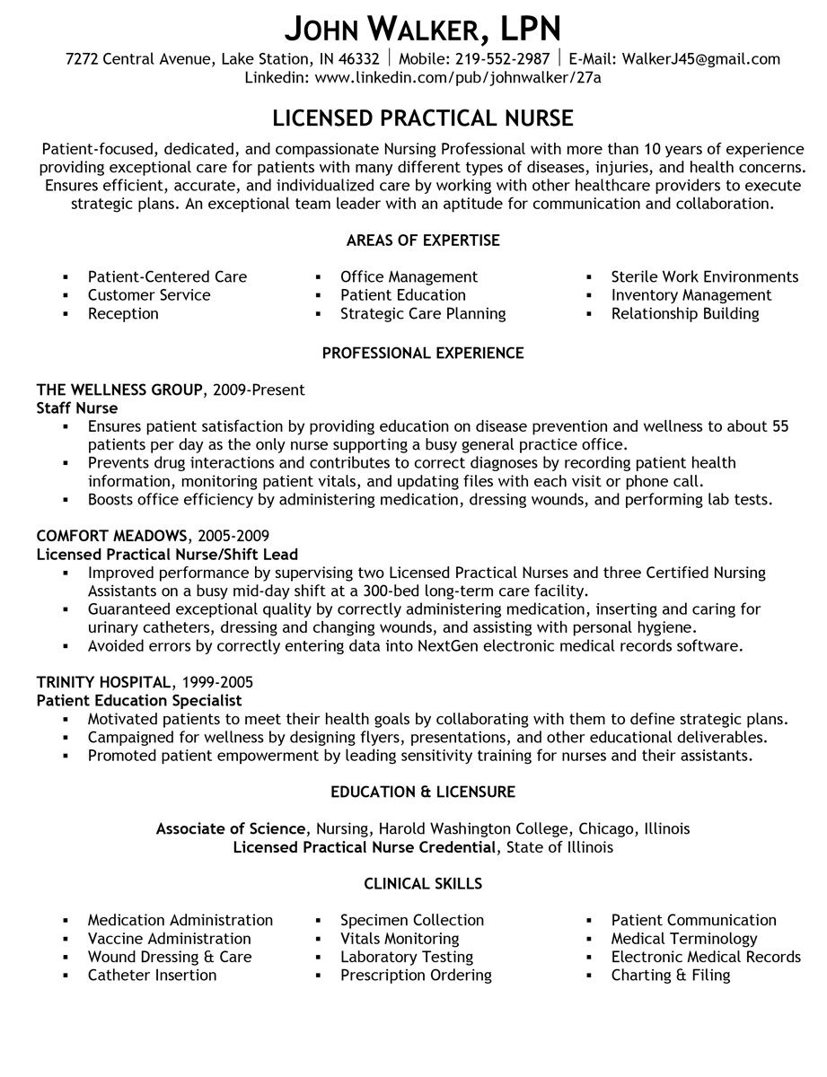 resume samples nursing examples lpn licensed practical nurse operations manager Resume Licensed Practical Nurse Resume