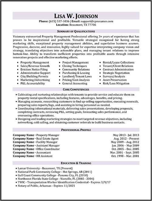resume samples types of formats examples and templates manager project job property Resume Property Management Job Description For Resume