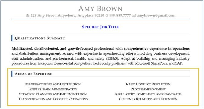 resume sections best ways to optimize qualifications and skills summary section of amy Resume Summary Section Of Resume