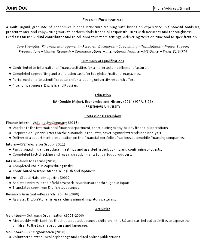 resume summary examples college students biomedical engineering samples accounts payable Resume Summary For Resume College Student