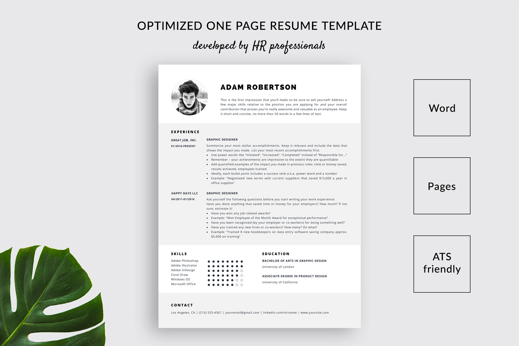 resume template and cover letter adam format ats friendly one templatehippo assembly line Resume Resume Format Ats Friendly