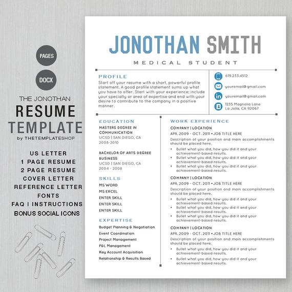 resume template cv for word printable social etsy media il 570xn s4il pamphlet percuma Resume Social Media Resume Template