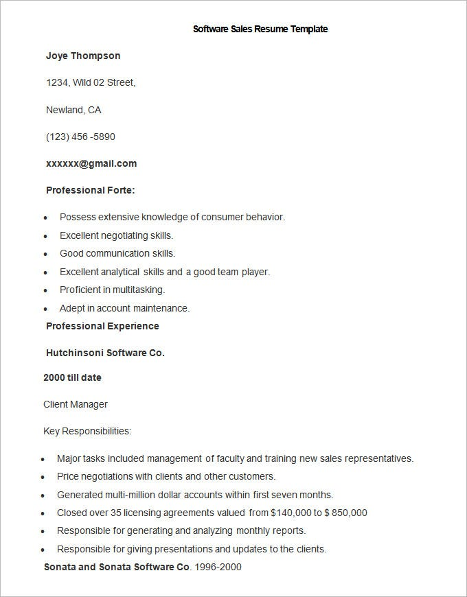 resume template free samples examples format premium templates creating sample software Resume Creating A Sales Resume