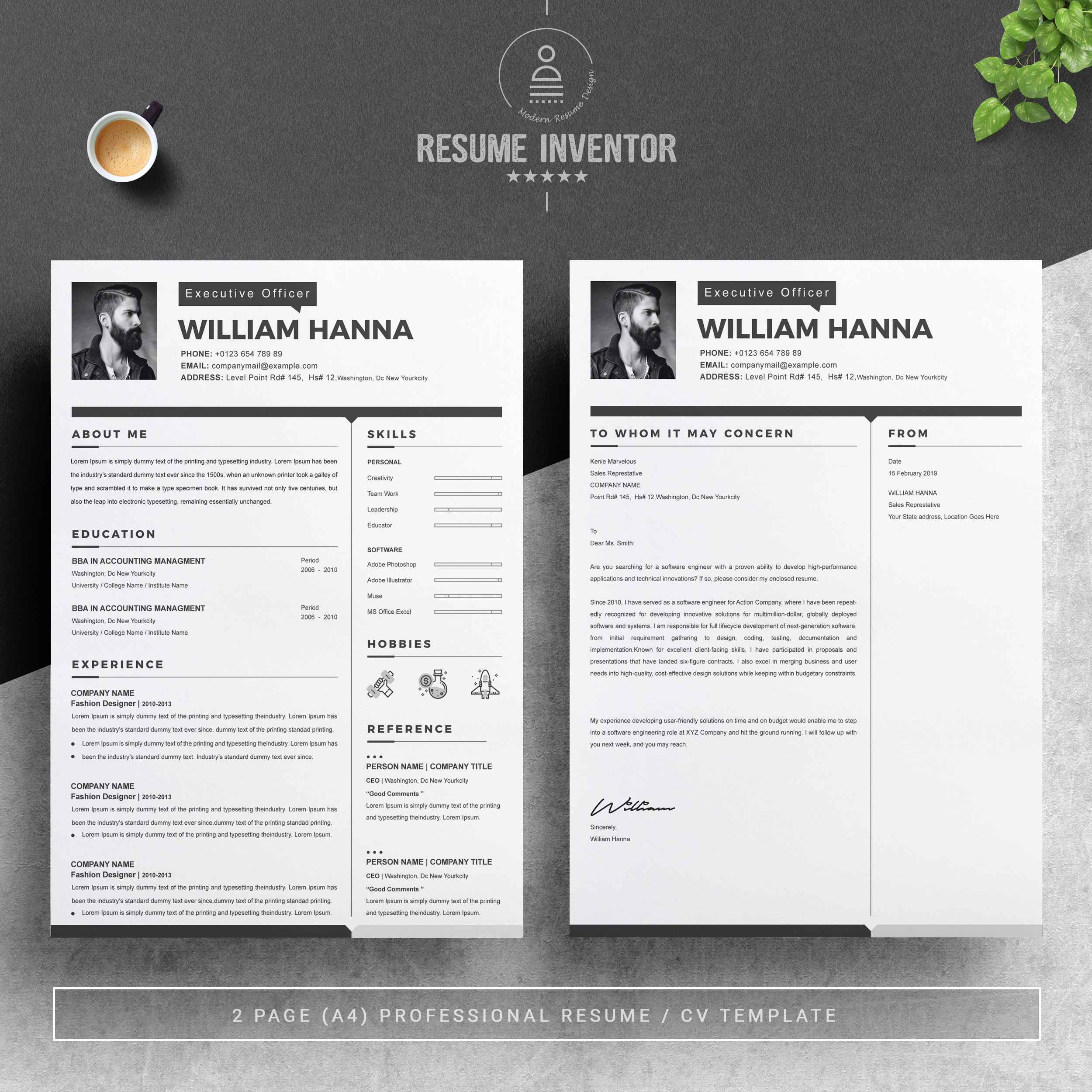 resume template with cover letter crella two free design healthcare skills good technical Resume Two Page Resume Template