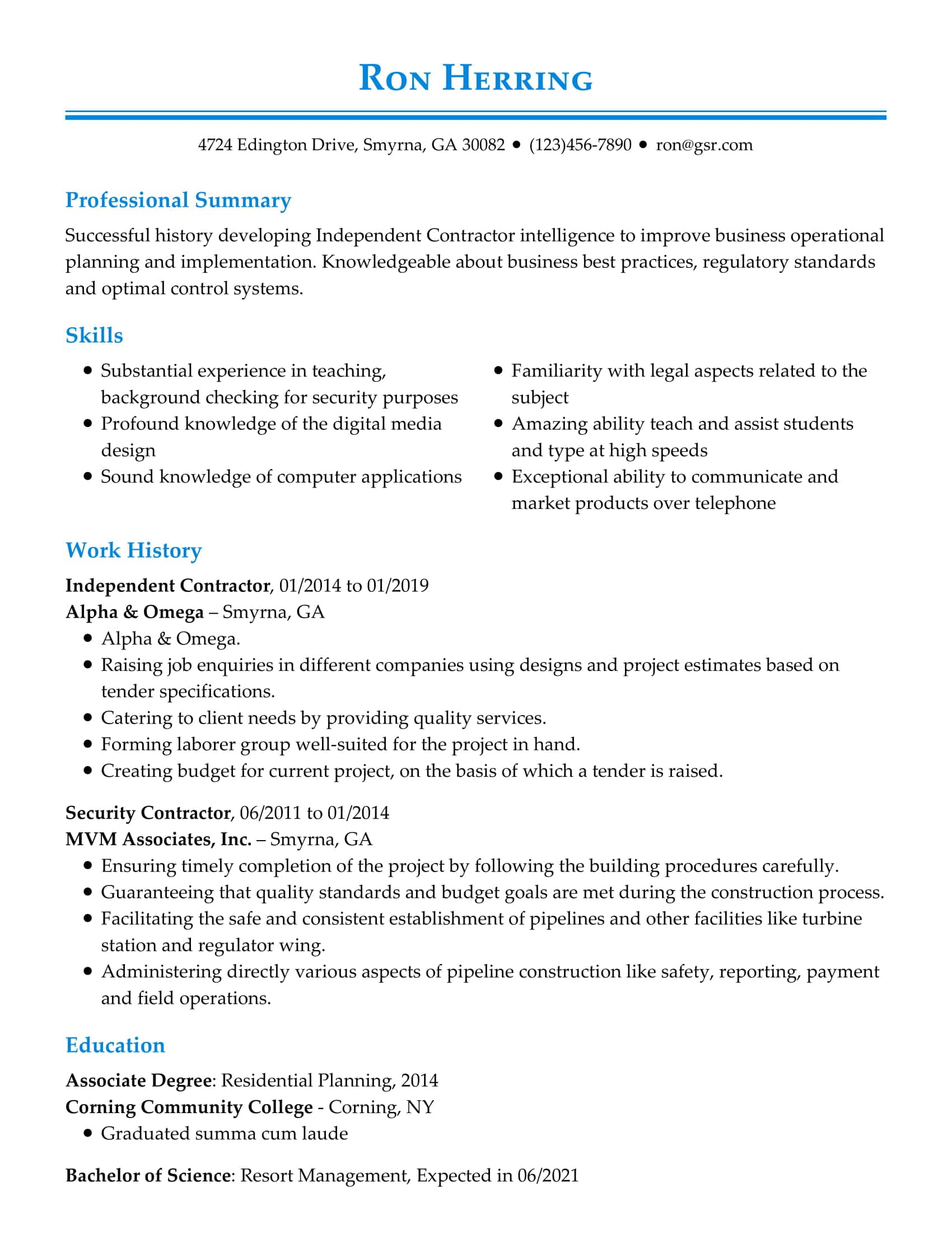resume templates edit in minutes professional looking template blue concordia Resume Professional Looking Resume Template