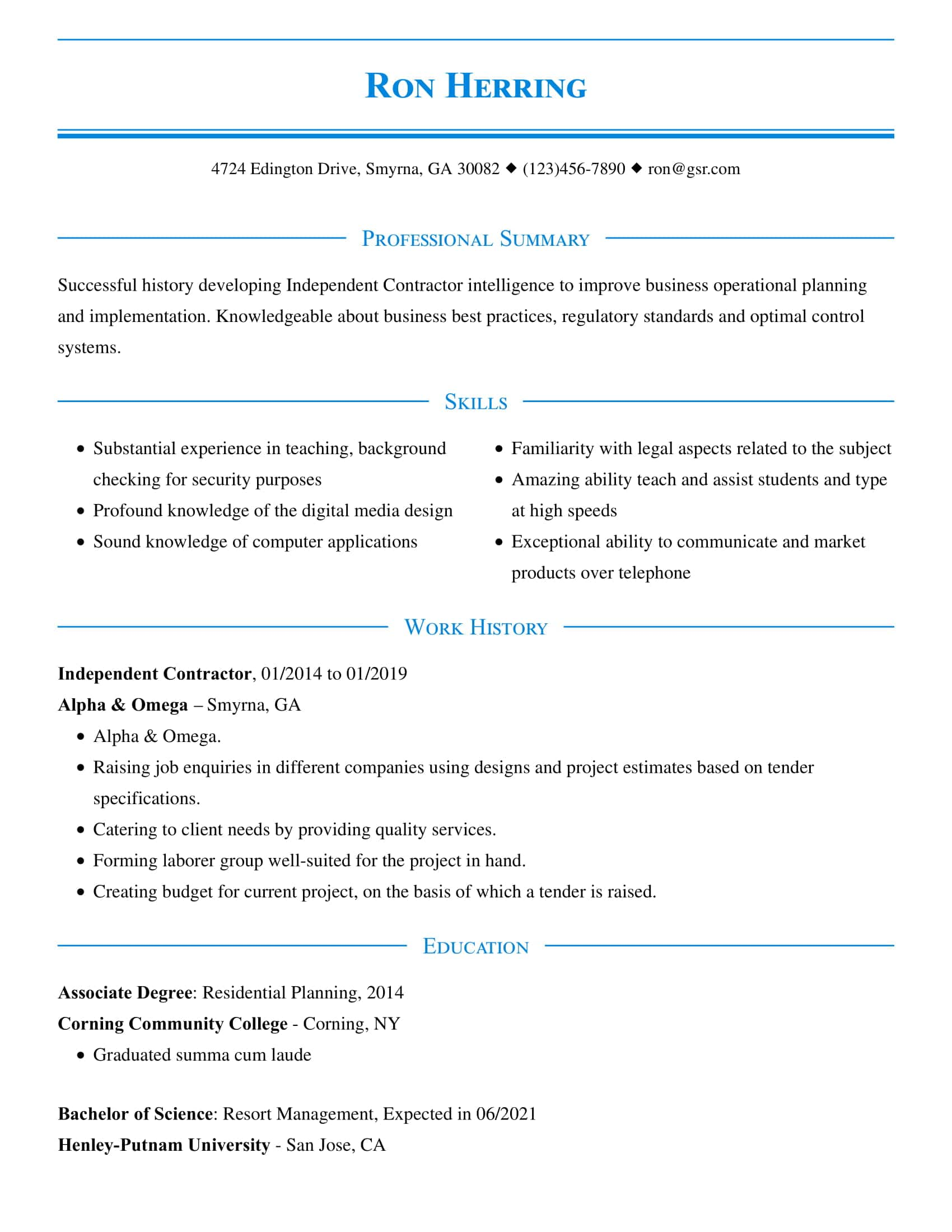 resume templates edit in minutes professional looking template refined blue concordia Resume Professional Looking Resume Template
