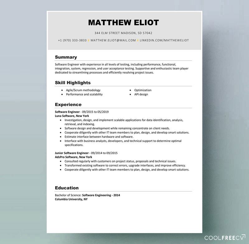 resume templates examples free word sample for example it education project manager ubs Resume Sample Resume For 2020