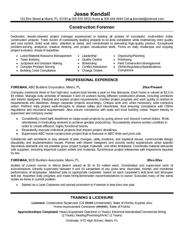 resume templates for construction foreman google search examples sample template free Resume Home Improvement Resume