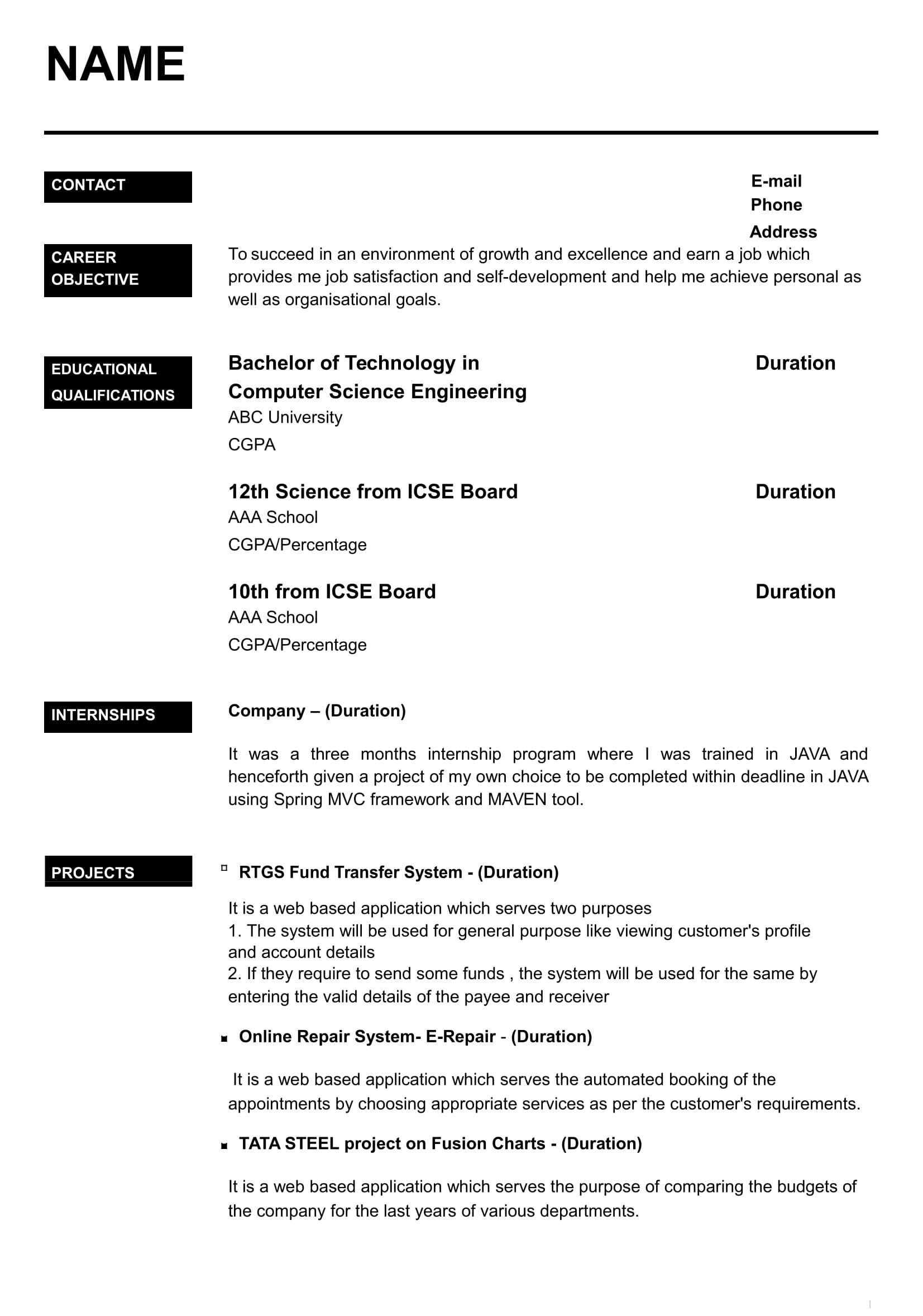 resume templates for freshers free word format awesome fo best simple examples principal Resume Resume Examples For Freshers