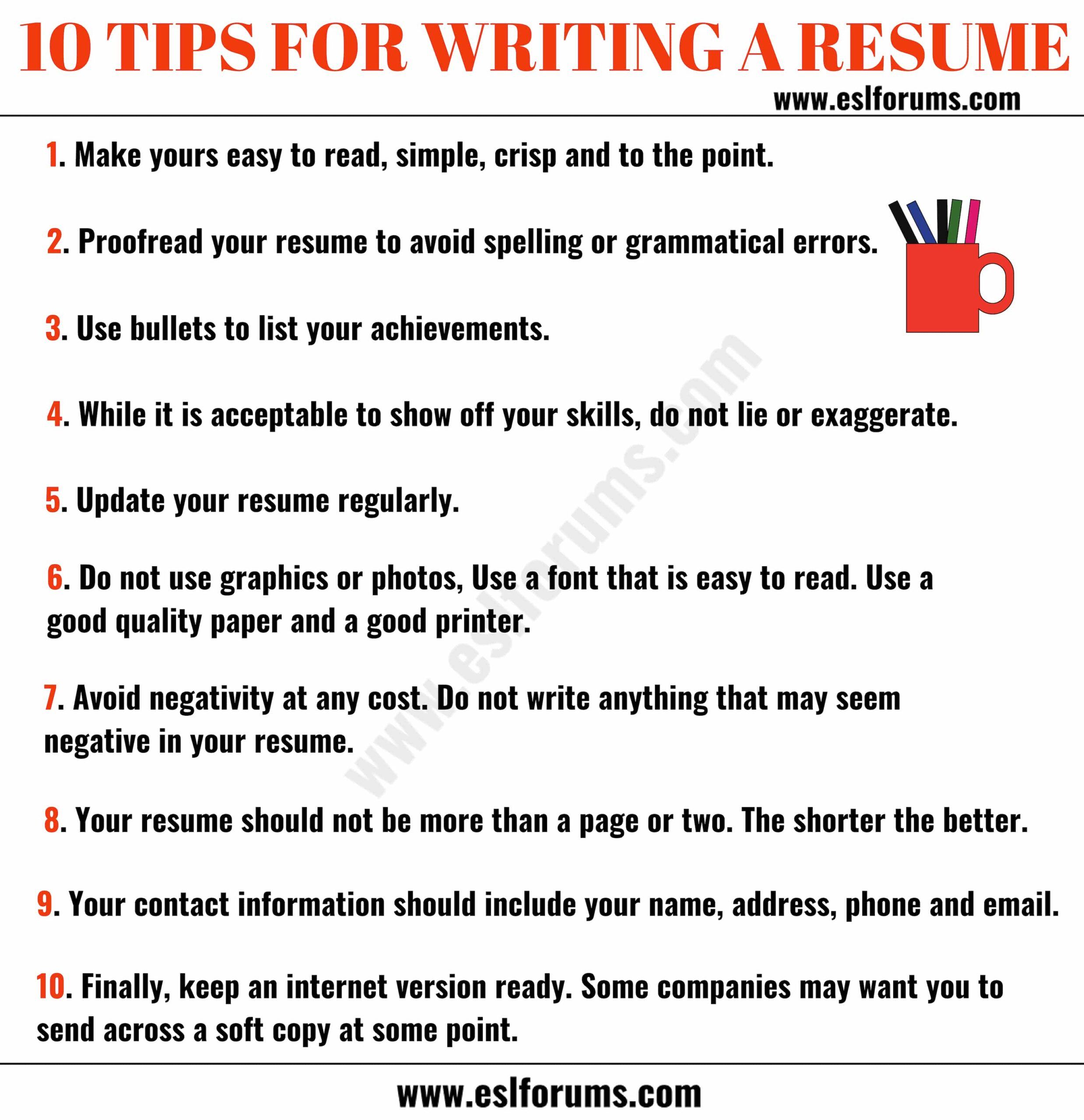 resume tips to write professional esl forums for writing great best profile headline Resume Tips For Writing A Great Resume