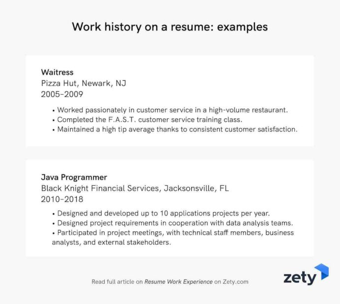 resume work experience history job description examples with one on reason for leaving Resume Resume With One Job History