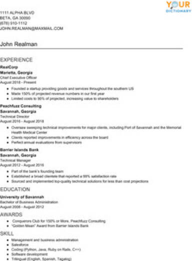 resume writing examples with simple effective tips give an example of hronological basic Resume Give Me An Example Of A Resume