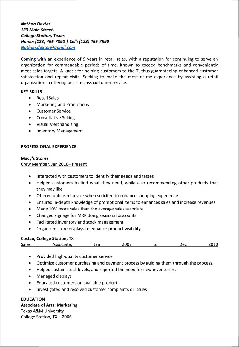 retail associate instant resume sample salesforce event manager responsibilities Resume Retail Sales Associate Resume Sample