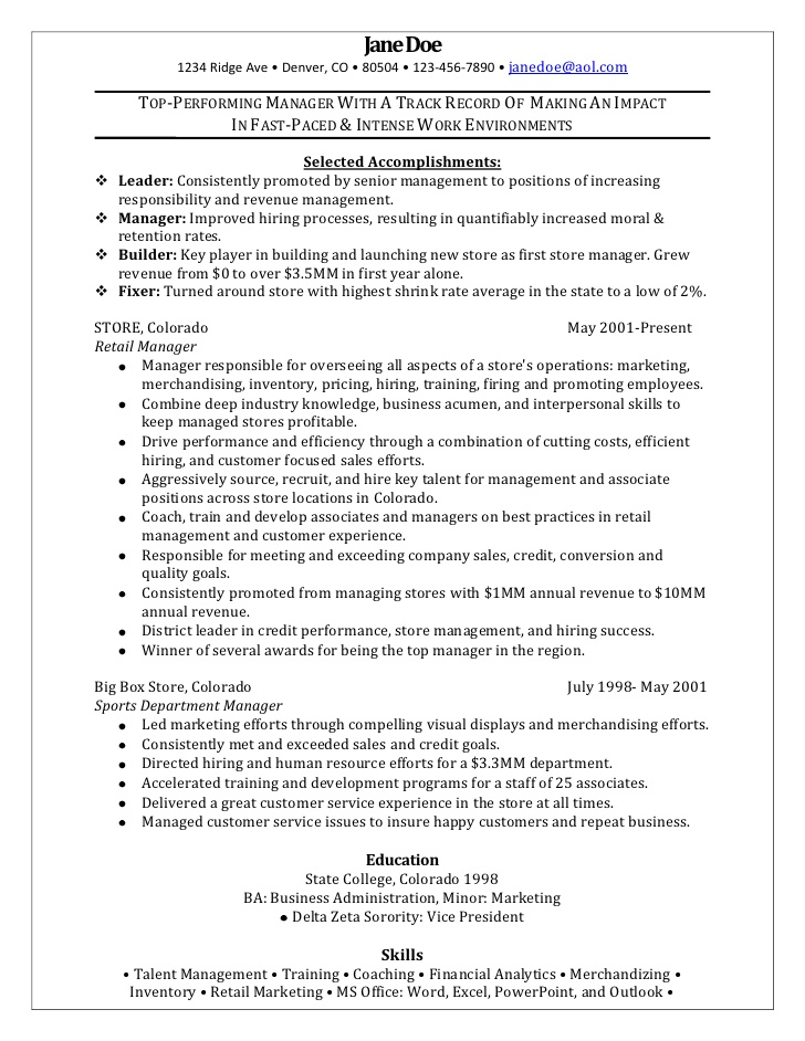 retail manager sample resume examples should you follow up after submitting text box for Resume Retail Manager Resume Examples