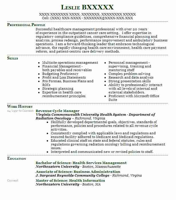 revenue cycle manager resume example fegs freeport new healthcare examples shift leader Resume Healthcare Revenue Cycle Resume Examples