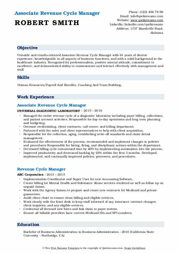 revenue cycle manager resume samples qwikresume healthcare examples pdf caregiver Resume Healthcare Revenue Cycle Resume Examples
