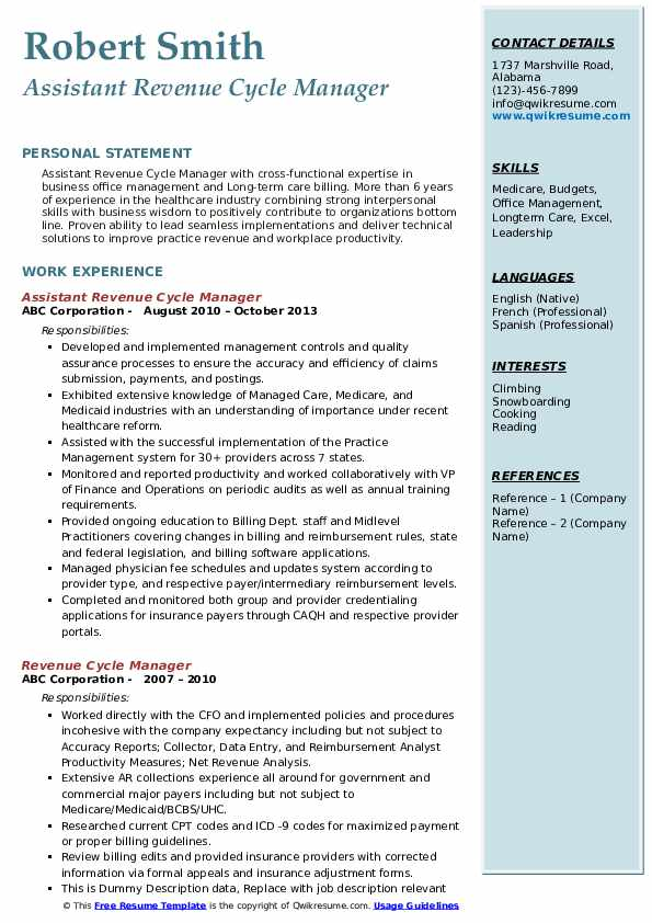 revenue cycle manager resume samples qwikresume healthcare examples pdf technical analyst Resume Healthcare Revenue Cycle Resume Examples