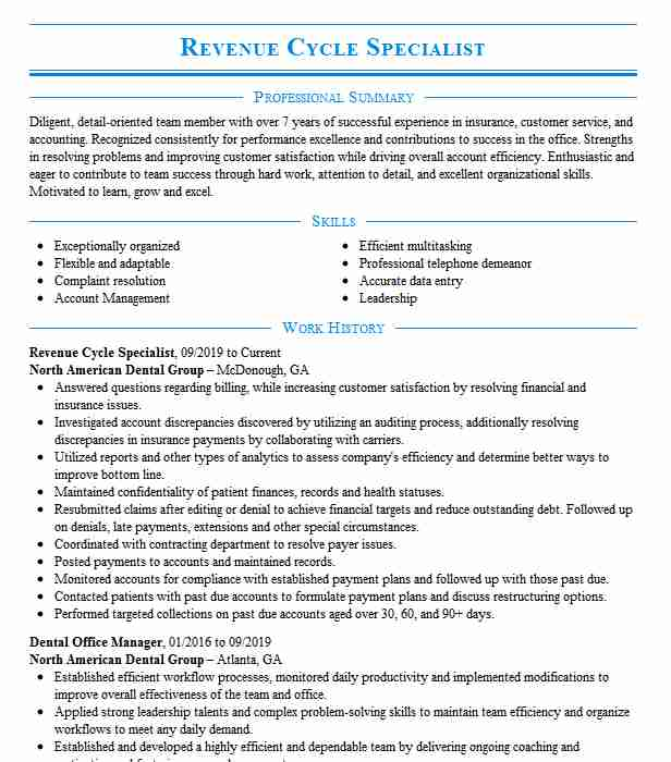 revenue cycle specialist resume example livecareer healthcare examples universal banker Resume Healthcare Revenue Cycle Resume Examples