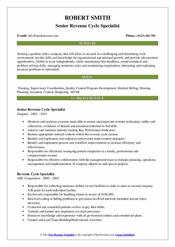 revenue cycle specialist resume samples qwikresume healthcare examples pdf client Resume Healthcare Revenue Cycle Resume Examples