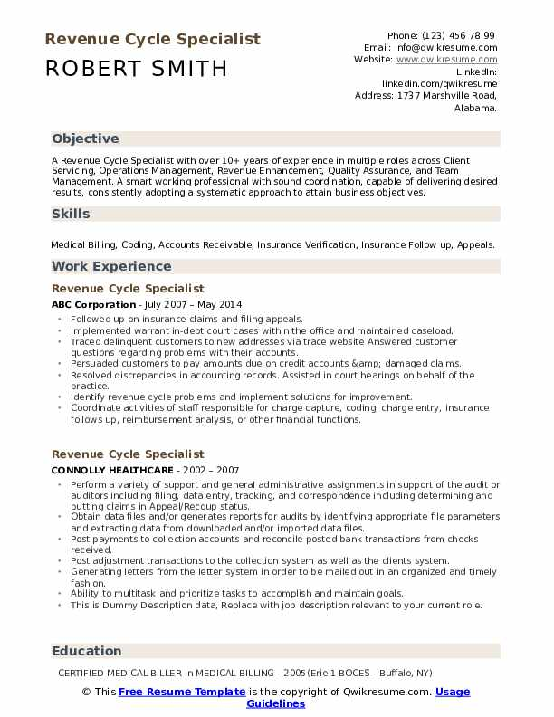 revenue cycle specialist resume samples qwikresume healthcare examples pdf lpn cover Resume Healthcare Revenue Cycle Resume Examples
