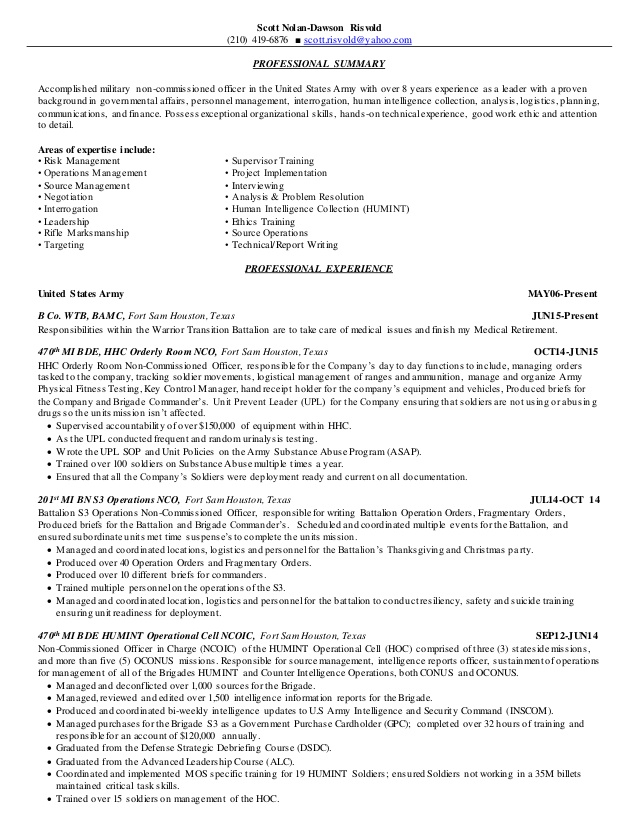risvold federal resume human intelligence collector new grad rn objective statement Resume Human Intelligence Collector Resume