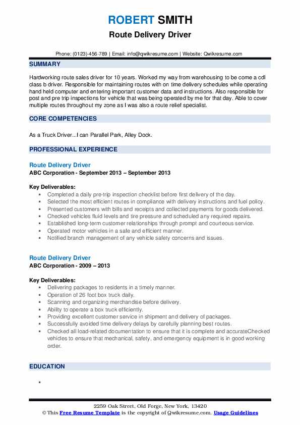route delivery driver resume samples qwikresume examples pdf environmental chemist Resume Delivery Driver Resume Examples